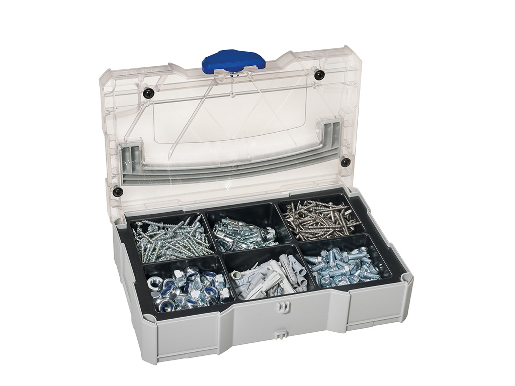 MINI-systainer® T-Loc I with transparent lid for small bits, 6 divisions, filled, light grey